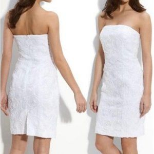 Calvin Klein Rosette Strapless Dress White Size 6
